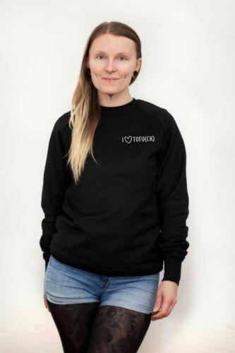 "CK /""SweatshirtPulloverbioveganschwarzfair unisex /""I LOVE TOFU"