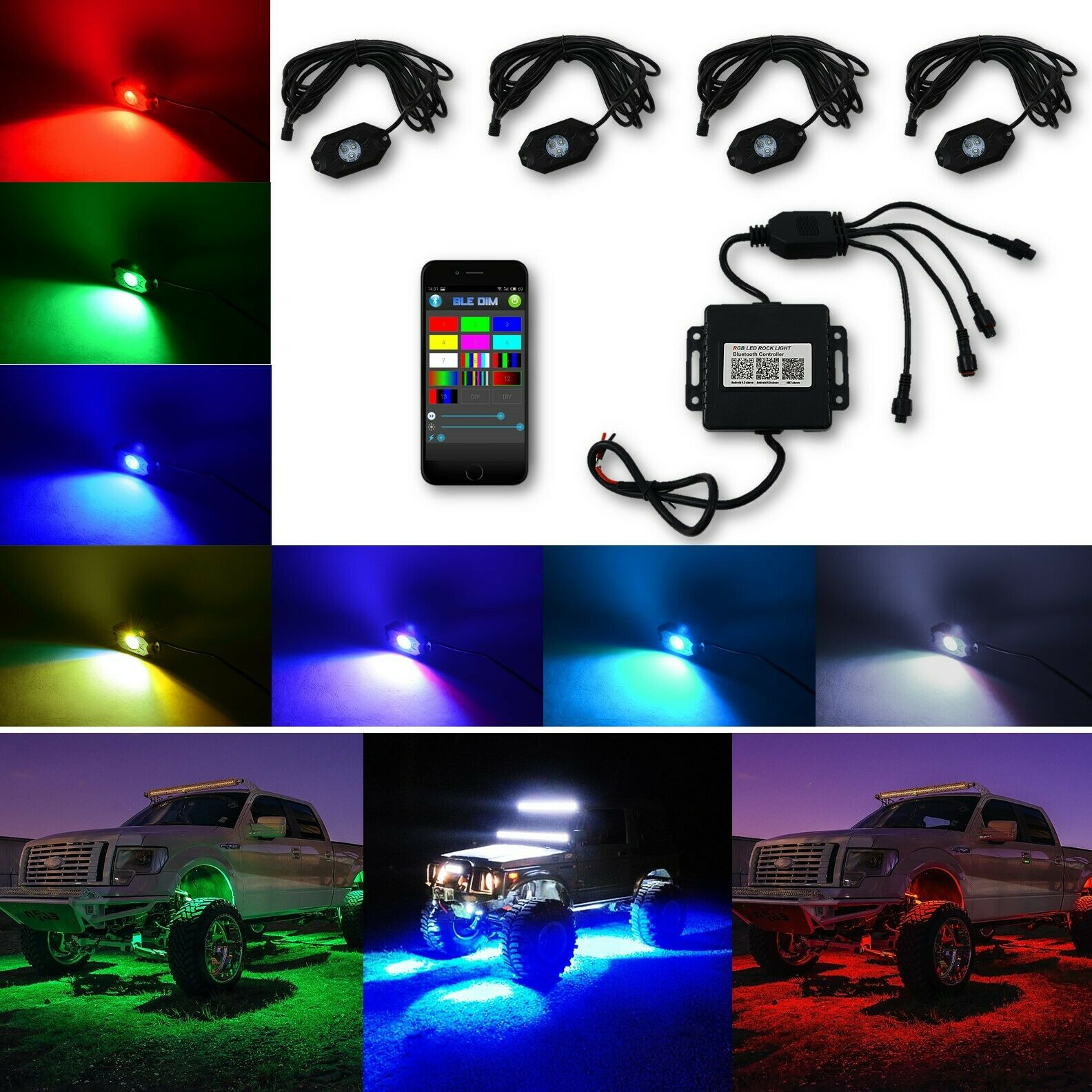 Truck Multi-Color Changing LED RGB SMD Rock Light Bluetooth Set of 4 Fits Jeep