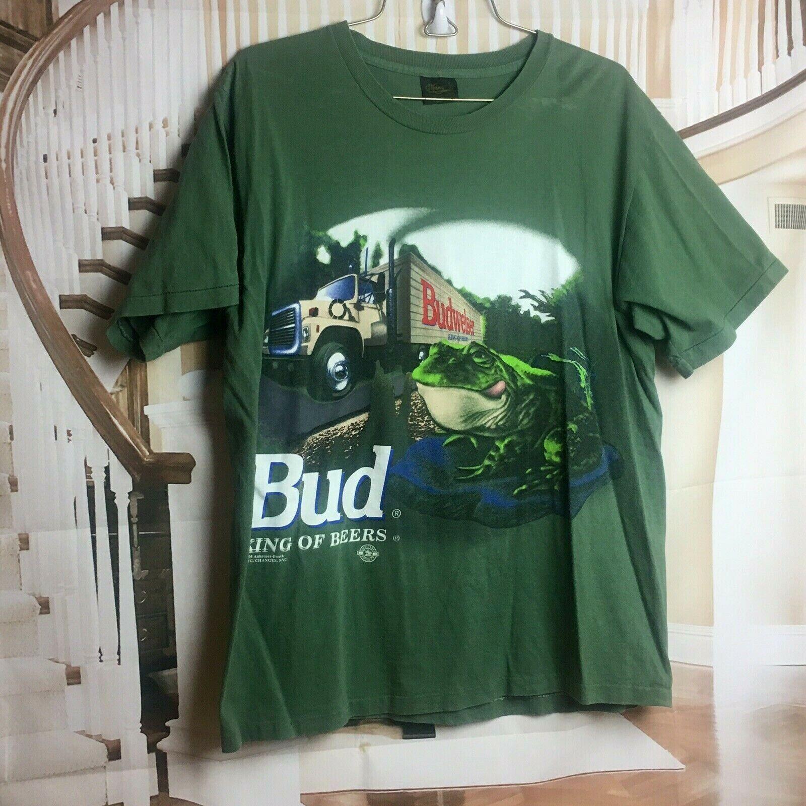 1995 Single Stitch T Shirt Budweiser Frog Double Sided Anheuser Busch Men's