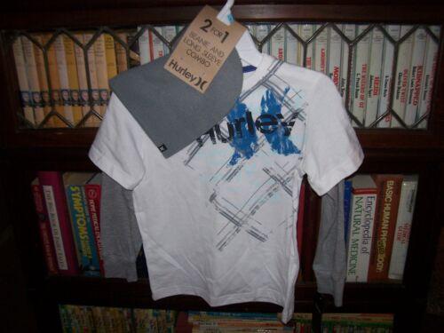 NEW 2 pc thermal HURLEY long sleeve t shirt beanie hat boys sz   6 white