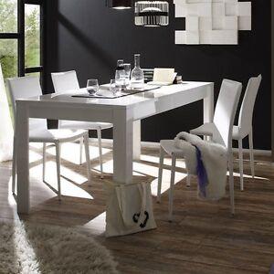 Tavolo da pranzo fisso moderno Sorrento bianco lucido sala soggiorno ...
