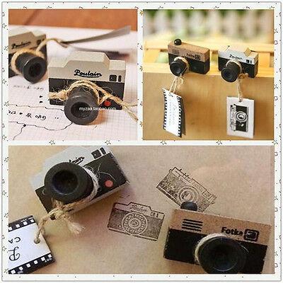 New 2 Model Korea Wooden retro Camera Rubber Stamp Gray & Brown