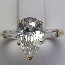 14K YELLOW GOLD DIAMONIQUE CZ PEAR CUT ENGAGEMENT RING SIZE 6