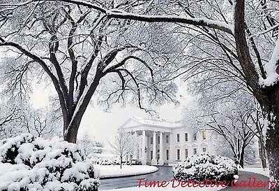 A Winter Scene at the White House, Washington, D.C. - Giclee Photo Print