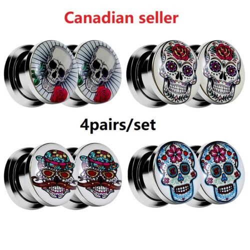 4Pairs Stainless Steel Ear Gauges skull Screw Plugs Tunnels Expanders Stretcher