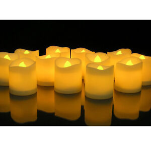 24 pcs flameless votive candles battery operated flickering led tea light ebay. Black Bedroom Furniture Sets. Home Design Ideas