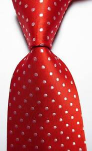 New-Classic-Polka-Dot-Red-White-JACQUARD-WOVEN-100-Silk-Men-039-s-Tie-Necktie