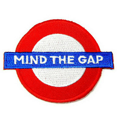 """Mind the Gap Sign Grade A Iron on Patch Sew Embroidered 2.2""""x2.8"""" Applique I0172"""