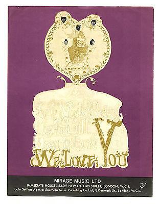 ROLLING STONES We Love You UK Original Sheet Music 1967 Mirage Music LTD