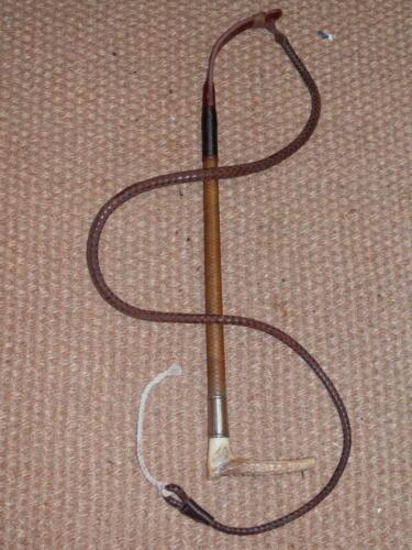 Antique Gents Hunting Whip-tressés Rawhide Arbre, cuir Lash & Argent Collier