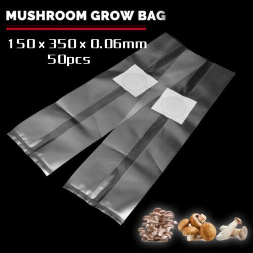 50pcs PVC Mushroom Spawn Grow Bag Substrate Clear Bags High Temp Pre-Sealable