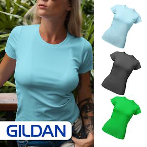 Womens Gildan Softstyle Fitted T-Shirt Plain Blank Summer Green Blue Charcoal