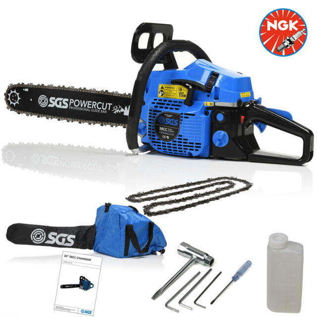 "58cc 20"" Petrol Chainsaw: 2x Saw Chains & Easy Start"