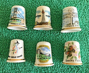 Set-Of-6-UK-Tourist-Attraction-Bone-China-Thimbles-Collectable-England-Places-S2