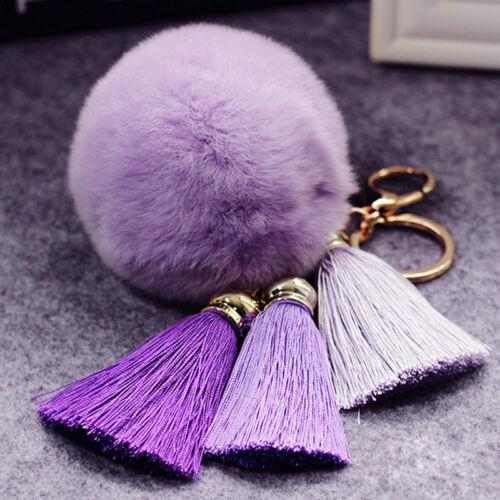 1pc Soft Rabbit Fur Ball tassel PomPom Cell Phone Pendant Handbag Key Chain Ring
