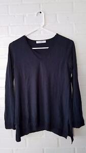 KOKUN-210-Designer-Cashmere-Bamboo-Navy-Blue-Asymmetrical-Hem-Sweater-XS-VGUC