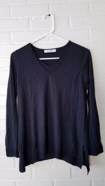 *KOKUN* $210 Designer Cashmere Bamboo Navy Blue Assymetrical Hem Sweater XS VGUC