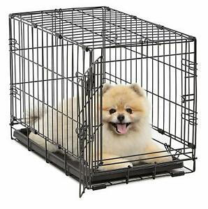 Folding-Crate-Pet-Crates-Dog-Cage-Single-Door-Medium-Size-22In-W-Divider-Kennel