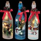 Christmas Decoration 29cm Battery Light Up Glass Bottle - Choose Design