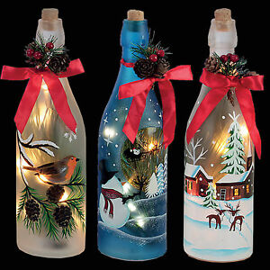 Christmas Decoration 29cm Battery Light Up Glass Bottle Choose