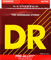 Dr Pl-10 Pre-alloy Acoustic Guitar Strings Lite Gauge 10-48