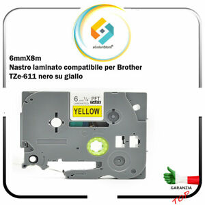 Nero//Giallo Brother TZE611 Nastro Laminato 6 mm