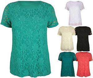 Womens-Plain-Lined-Floral-Lace-Ladies-Short-Sleeve-Fitted-T-Shirt-Top-Plus-Size