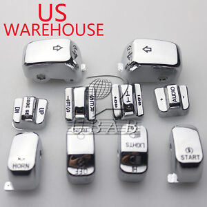 Chrome Hand Control Switch Housing Button Cap for Harley FLHT FLHX 1996-13 US