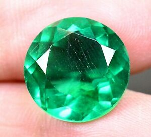 AAA-Colombian-8-95Ct-Natural-Green-Emerald-Round-Loose-Gemstone-Certified-B1196