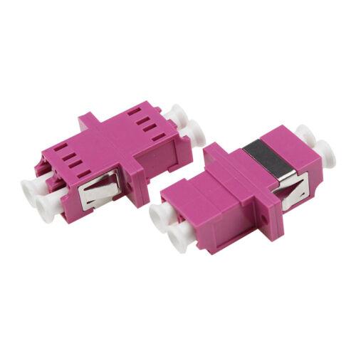 100pcs Fiber Optical LC MM OM4 Duplex Symmetrical Adapter with Ear Fiber Flange