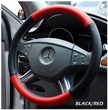 """IGGEE BLACK/RED S.LEATHER PREMIUM HIGH QUALITY STEERING WHEEL COVER 15"""""""