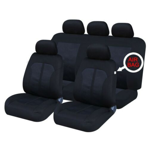 FRONT /& REAR CAR FULL SET SEAT COVERS CLOTH BLACK 08 on CITROEN C3 PICASSO