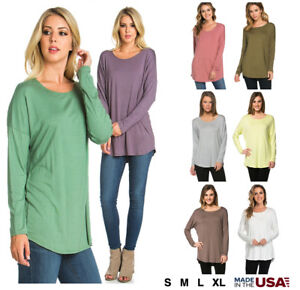 Women-039-s-Basic-Long-Sleeve-Tunic-Round-Neck-Solid-Soft-Jersey-Pullover-Top-Shirt