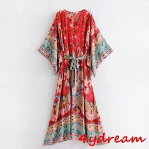 Women-Summer-Hippie-Deep-V-neck-Kimono-Sleeve-Floral-Print-Maxi-BOHO-DRESS-Lady