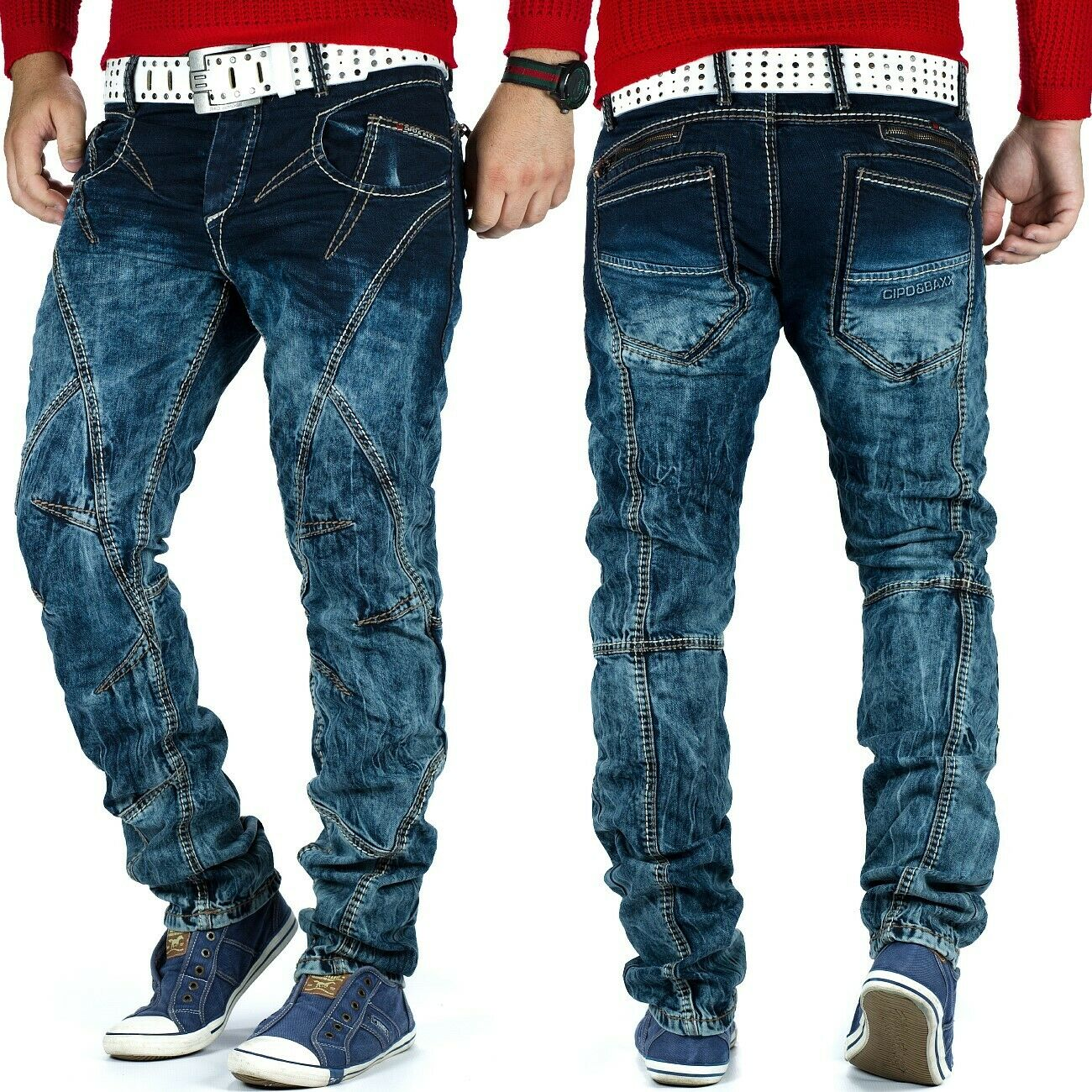 Cipo & Baxx Herren Regular Fit Jeans Denim Hose Streetwear Streetwear Streetwear Freizeit Dicke Naht 83b8e3