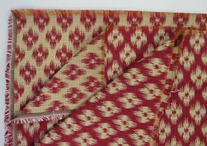 Ikat-Woven-Upholstery-Fabric-3-5-Yard-56-034-Wide-Cranberry-Red-Cream-Flower