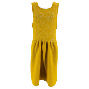 Maeve-Anthropologie-Mustard-Yellow-Floral-Lace-Sleeveless-Dress-Size-Large