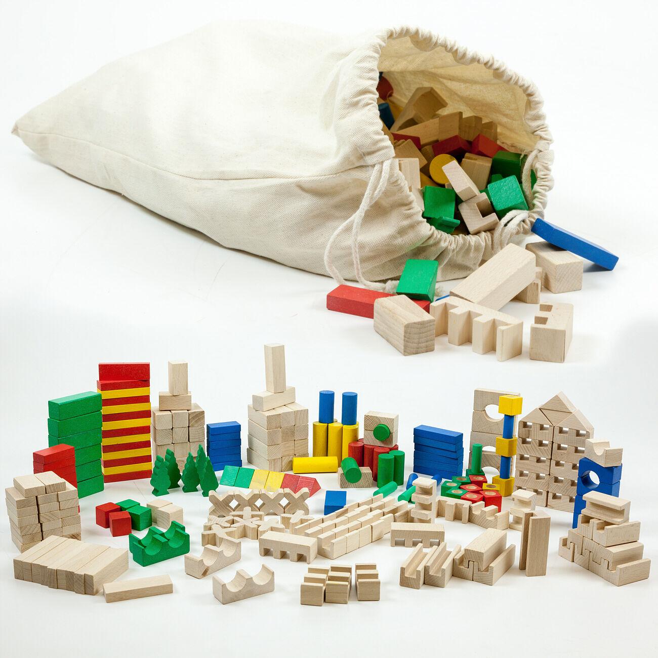 HolzFee 420 bunte Bausteine Holz Bauklötze Holzbausteine Spielzeug Holzklötze