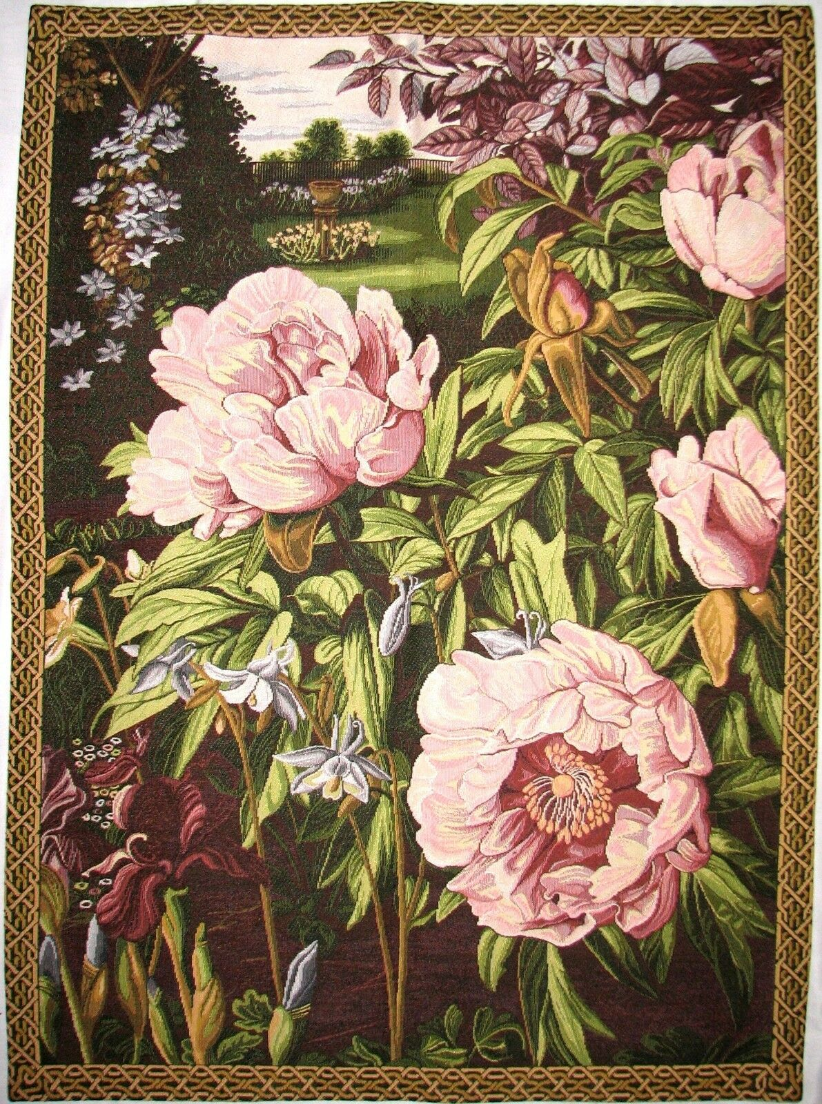 PIVOINES   PEONIES 35  FULLY LINED BELGIAN TAPESTRY Wand HANGING WITH ROD SLEEVE
