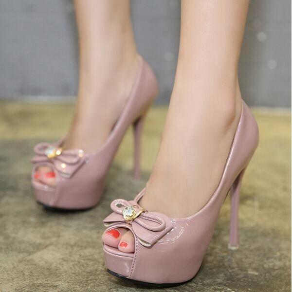 decolte stiletto 13 cm eleganti rosa open plateau cinturino simil pelle 8106