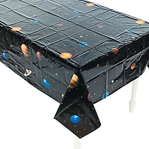 OUTER SPACE PARTY Planet Tablecloth Table Cover Plastic 137cm x 259cm Free Post