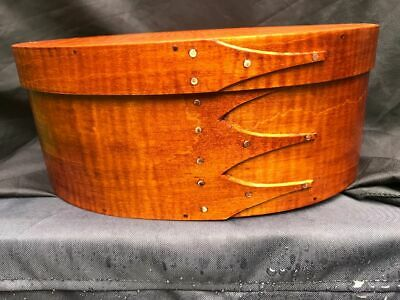 ---SIZE # 8 TALL TIGER  MAPLE  SHAKER OVAL BOX