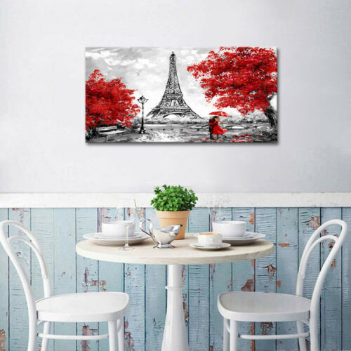 Paris Oil Painting Eiffel  Umbrella Canvas Wall Art print love black white