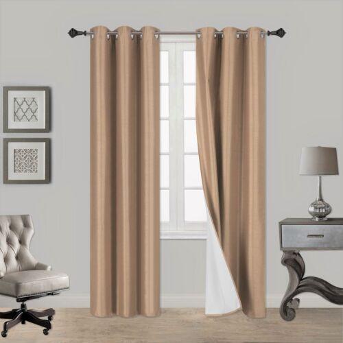 1 Set NOA Foam Lined 100/% Heavy Thick Blackout Grommet Window Curtain Panels