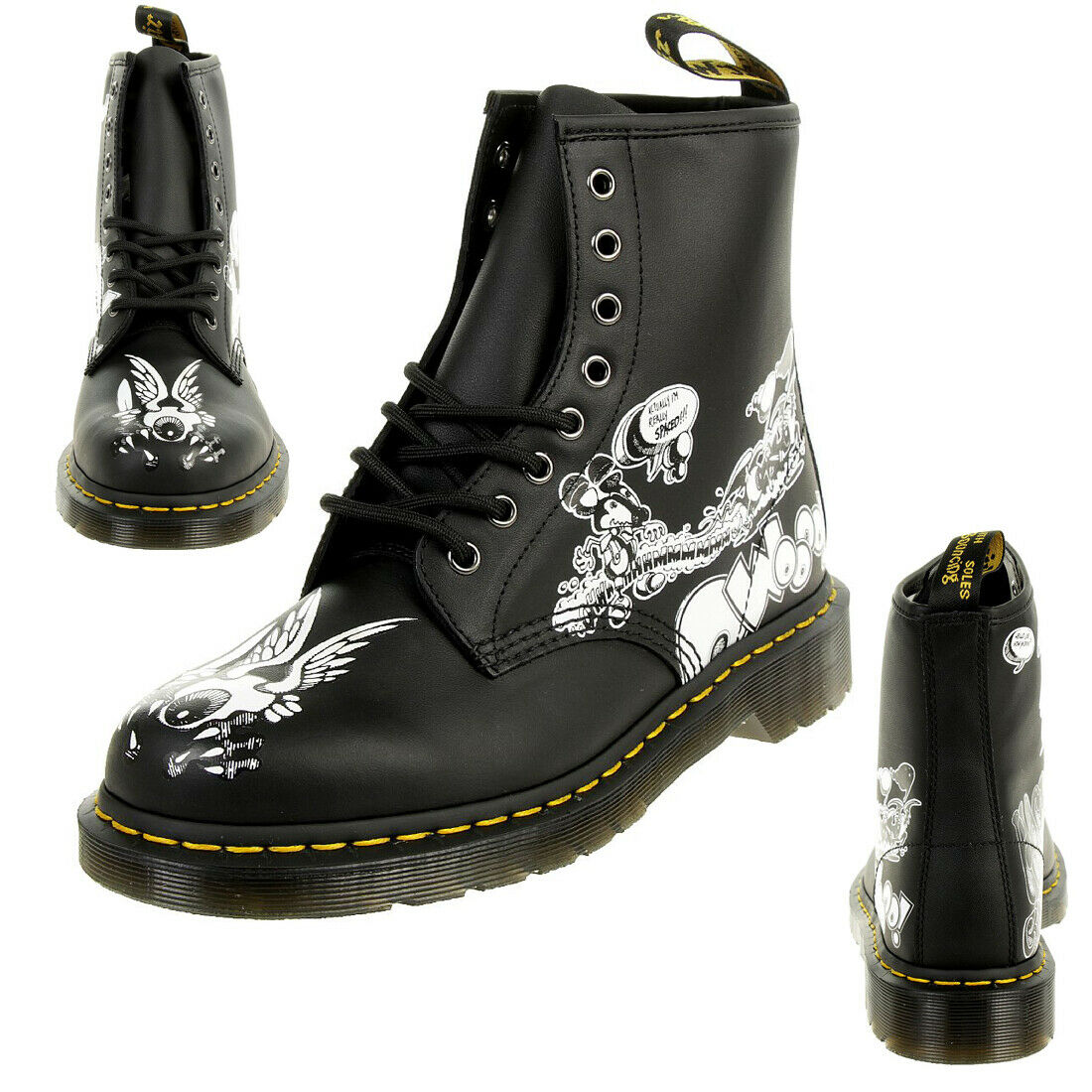 Dr.Martens 1460 RG Eye BW Backhand Black White Unisex Stiefel Boots Rick Griffin