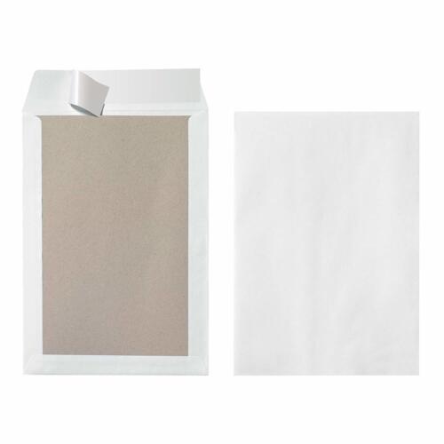10 Stück Eingeschweißt Versandtasche B4 mit Papprückwand Weiß Peal and Seal