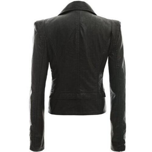 Plus Size Women/'s Ladies PU Leather Jacket Coat Zip Up Biker Casual Tops Blazer