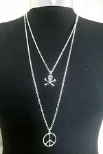 "Peace Sign & Skull Charms Layered Necklace Minimalist Silver Tone 30"" Chain"