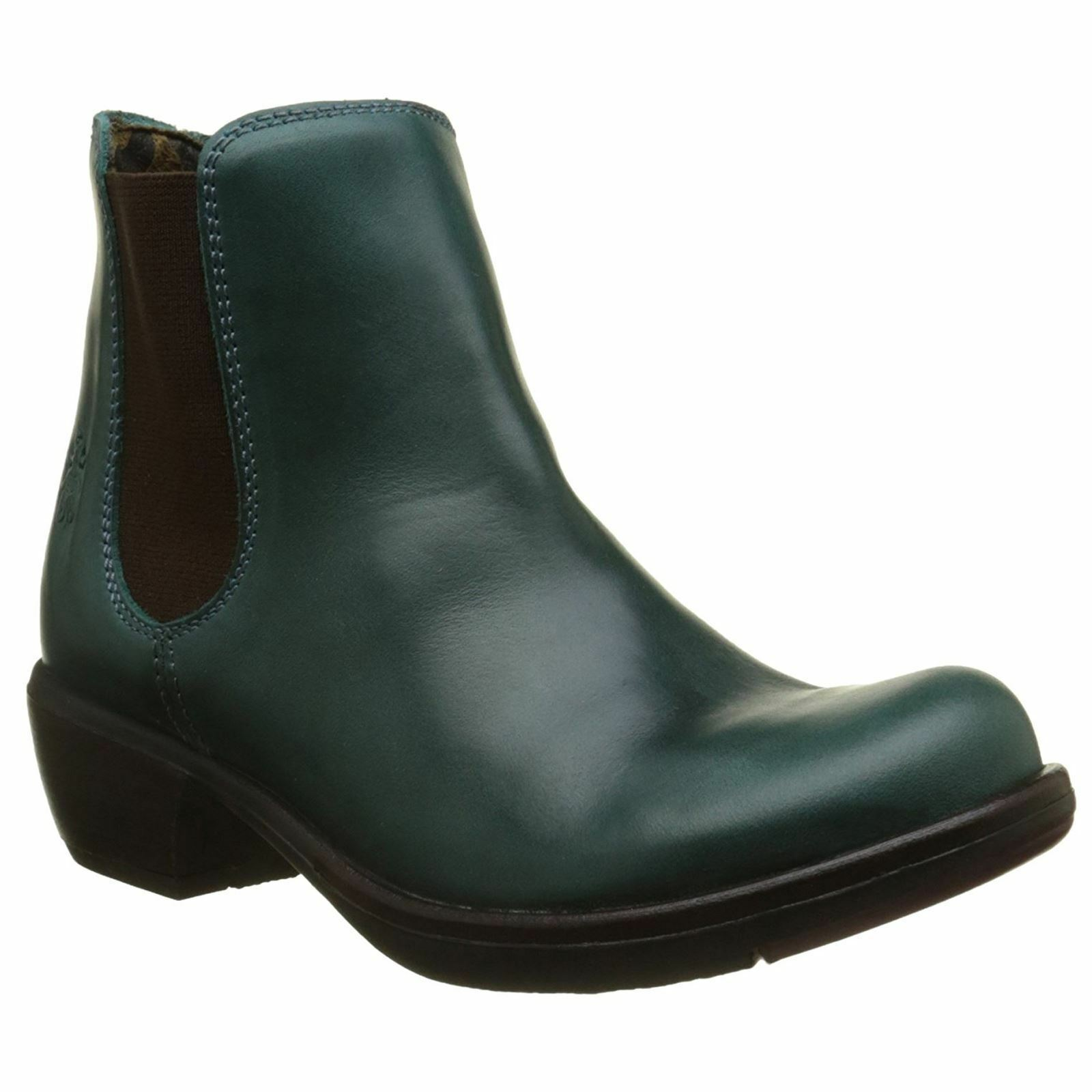 FLY LONDON MAKE PETROL GREEN GREEN GREEN LEATHER CHELSEA ANKLE Stiefel UK 4 EUR 37 9713c0