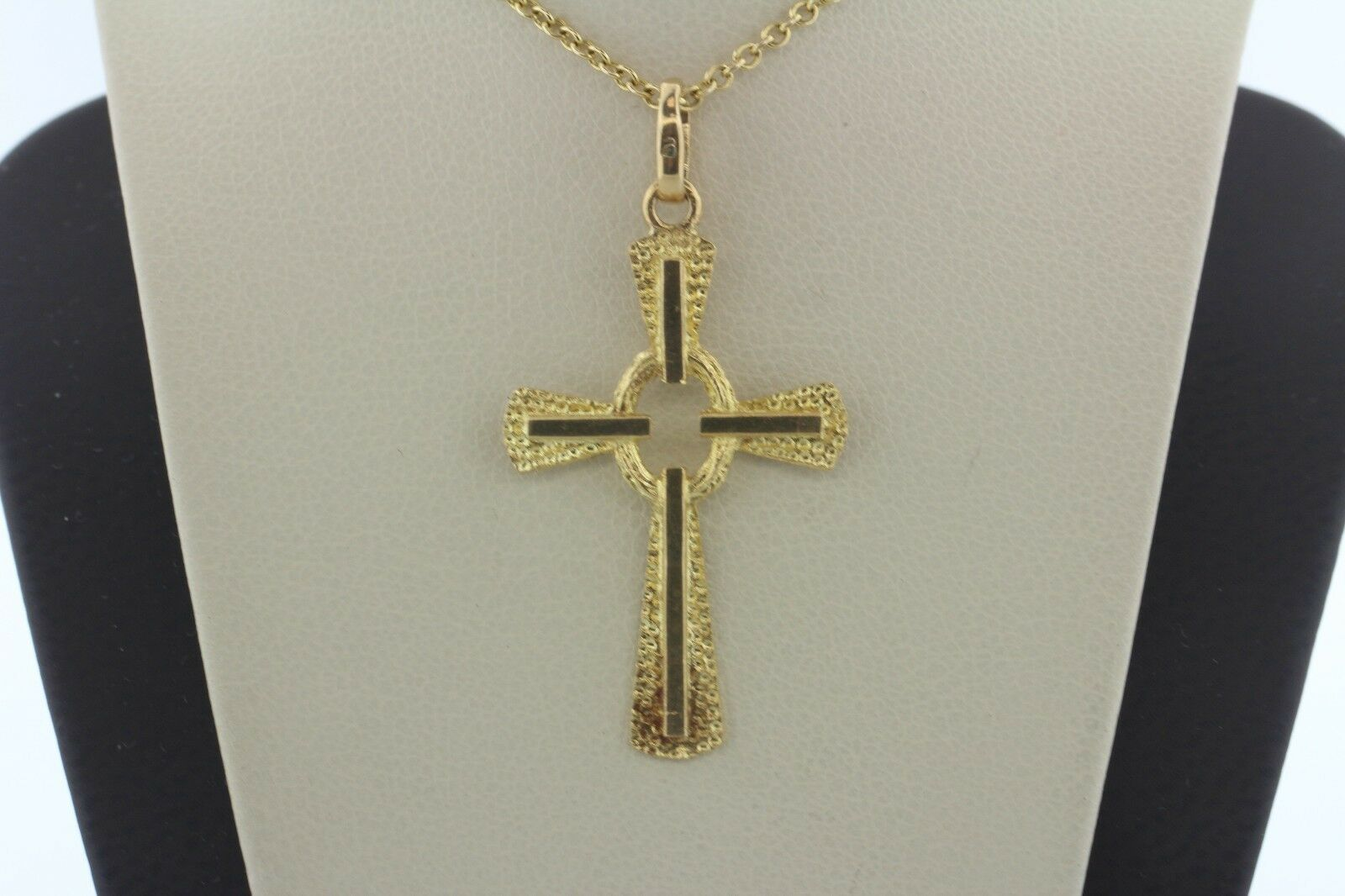 14K Yellow gold Hammered Textured Double Layer Cross Charm Pendant